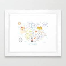 Neverland Map Color Framed Art Print