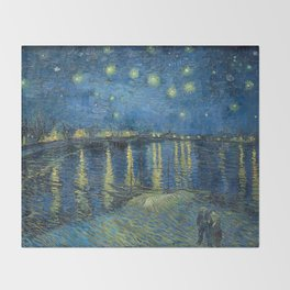 Starry Night Over the Rhône Throw Blanket