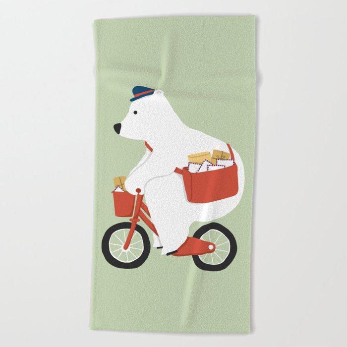 Polar bear postal express Beach Towel