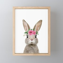 Baby Rabbit with Flower Crown Framed Mini Art Print