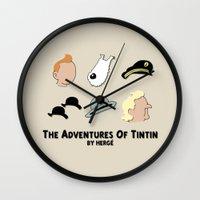 tintin Wall Clocks featuring Tintin, Minimalist by Faellen