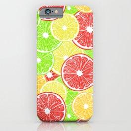 Lemon, orange, grapefruit and lime slices pattern design iPhone Case