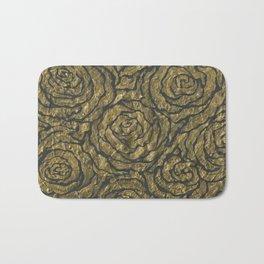 Intense Rose Print on Textured Canvas Bath Mat