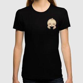 Cute Sleeping Sloth Inside Pocket of design T-shirt