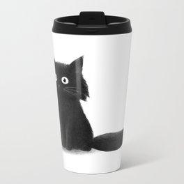 Sitting Cat (mono) Metal Travel Mug