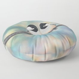 black capped chickadees and bokeh Floor Pillow