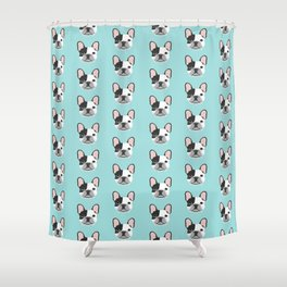 Frenchie black and white french bulldogs french bulldog gifts for dog lovers Shower Curtain