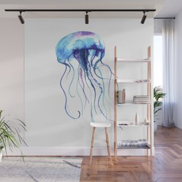 Blue & Purple Abstract Watercolor Jellyfish on White Minimalist Art Coast - Sea - Beach - Shore Wall Mural