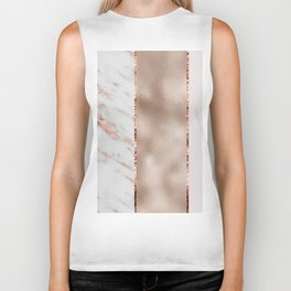 Rose metallic striping - marble and blush Biker Tank