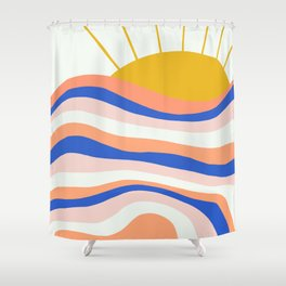 sunrise surf Shower Curtain