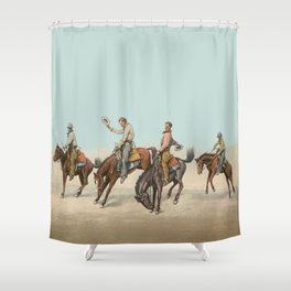 Cowboys On Bucking Horses Shower Curtain