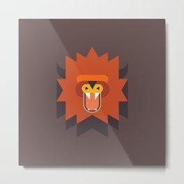 Geometric Lion Head Metal Print