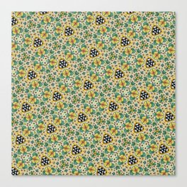 Yellow Violas with Checkers Canvas Print
