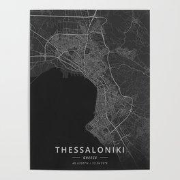 Thessaloniki, Greece - Dark Map Poster