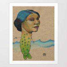 LONELY MERMAID Art Print