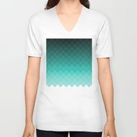ombre V-neck T-shirts featuring Ombre squares by eARTh