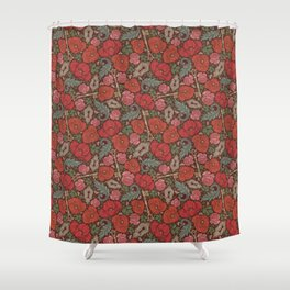 Red poppies and roses with golden keys on dark background Shower Curtain