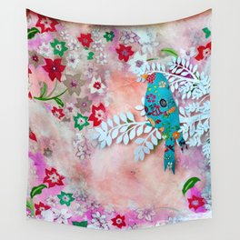 Little bird on branch Wall Tapestry