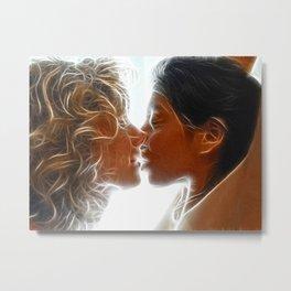 9705  Two Woman Kissing Sensual Erotic Fractal Art by Chris Maher Metal Print