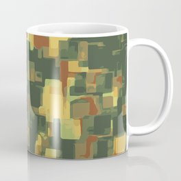 green and brown square painting abstract background Coffee Mug