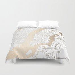 New York City White on Gold Duvet Cover