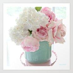 Dreamy Hydrangeas Pink Roses Aqua White Pink Shabby Chic Floral Wall Home Decor Art Print