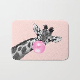 Bubble Gum Sneaky Giraffe Pink Bath Mat