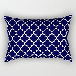 White Moroccan Quatrefoil On Navy Blue Rectangular Pillow
