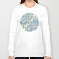 bedding Long Sleeve T-shirts featuring Blue & Tan Art Nouveau Pattern by micklyn