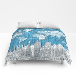 world map city skyline 10 Comforters