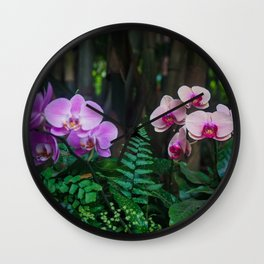 Orchid Leafy Orchid Wall Clock