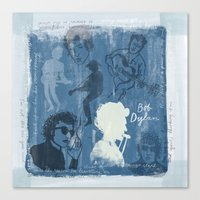 bob dylan Canvas Prints featuring Bob Dylan by The Printed Peanut