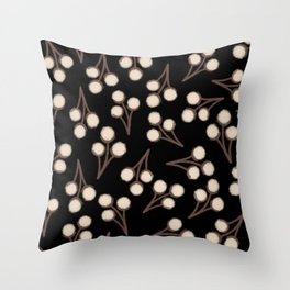 Cotton Stems Botanical Pattern in Brown, Cream, and Black II Throw Pillow