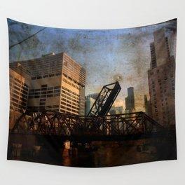 Chicago Skyline Chicago River Drawbridge Wall Tapestry
