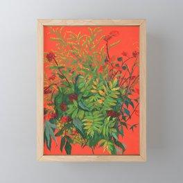 Autumn Floral, Orange an Green Framed Mini Art Print