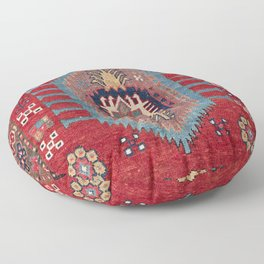 Tribal Honeycomb Palmette II // 19th Century Authentic Colorful Red Flower Accent Pattern Floor Pillow