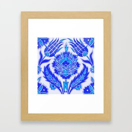 An Ottoman Iznik style floral design pottery polychrome, by Adam Asar, No 36 s Framed Art Print