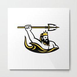Triton Wielding Trident Mascot Metal Print