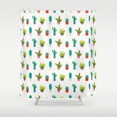 Colorful cactus succulent plant flower nature pattern Shower Curtain