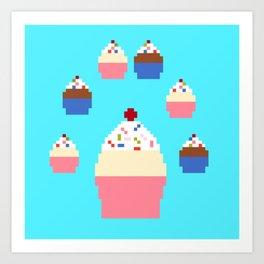 Pixel Cupcakes (Blue) Art Print