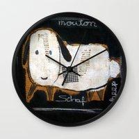 sheep Wall Clocks featuring sheep by woman