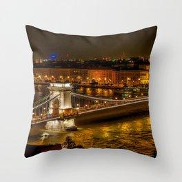 Budapest   Szechenyi Chain Bridge Throw Pillow