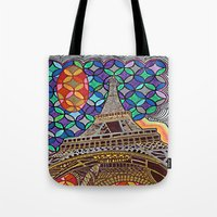 eiffel tower Tote Bags featuring Eiffel Tower by Art By Carob