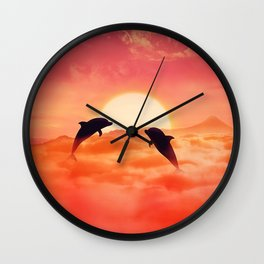 flying dolphins sunset Wall Clock