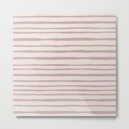 Modern ivory lavender blush geometrical watercolor stripes Metal Print