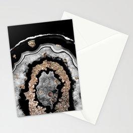 Gray Black White Agate with Gold Glitter on Black #1 #gem #decor #art #society6 Stationery Cards