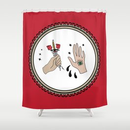Evil Eye & Sword Hands in Frame Shower Curtain