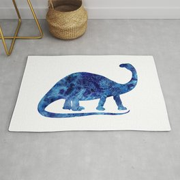 Blue Brontosaurus Watercolor Painting Rug