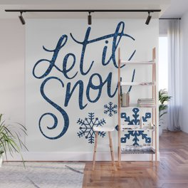 Let It Snow Blue Glitter (Color) Wall Mural