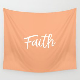 Faith - Peach and White Wall Tapestry
